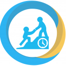 progress icon showing a person on top of stairs reaching to help another up