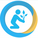 a progress icon in blue and yellow showing a person planting a tree