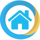 a progress icon in blue and yellow with a house