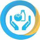 a progress icon in blue and yellow showing hands offering food