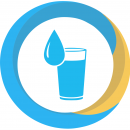 a progress icon in blue and yellow showing a cup filled with water