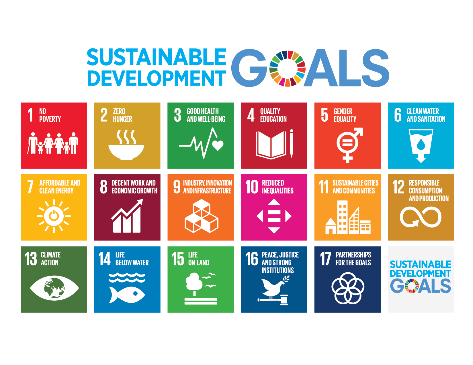 SDGs grid showing icons for the 17 UN goals